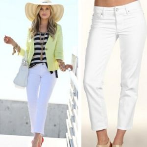 Lilly Pulitzer women's cropped white jeans…